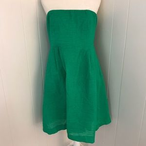 J Crew strapless crinkle dress with pockets